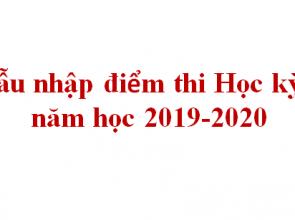 Mẫu nhập điểm thi Học kỳ 2, năm học 2019-2020